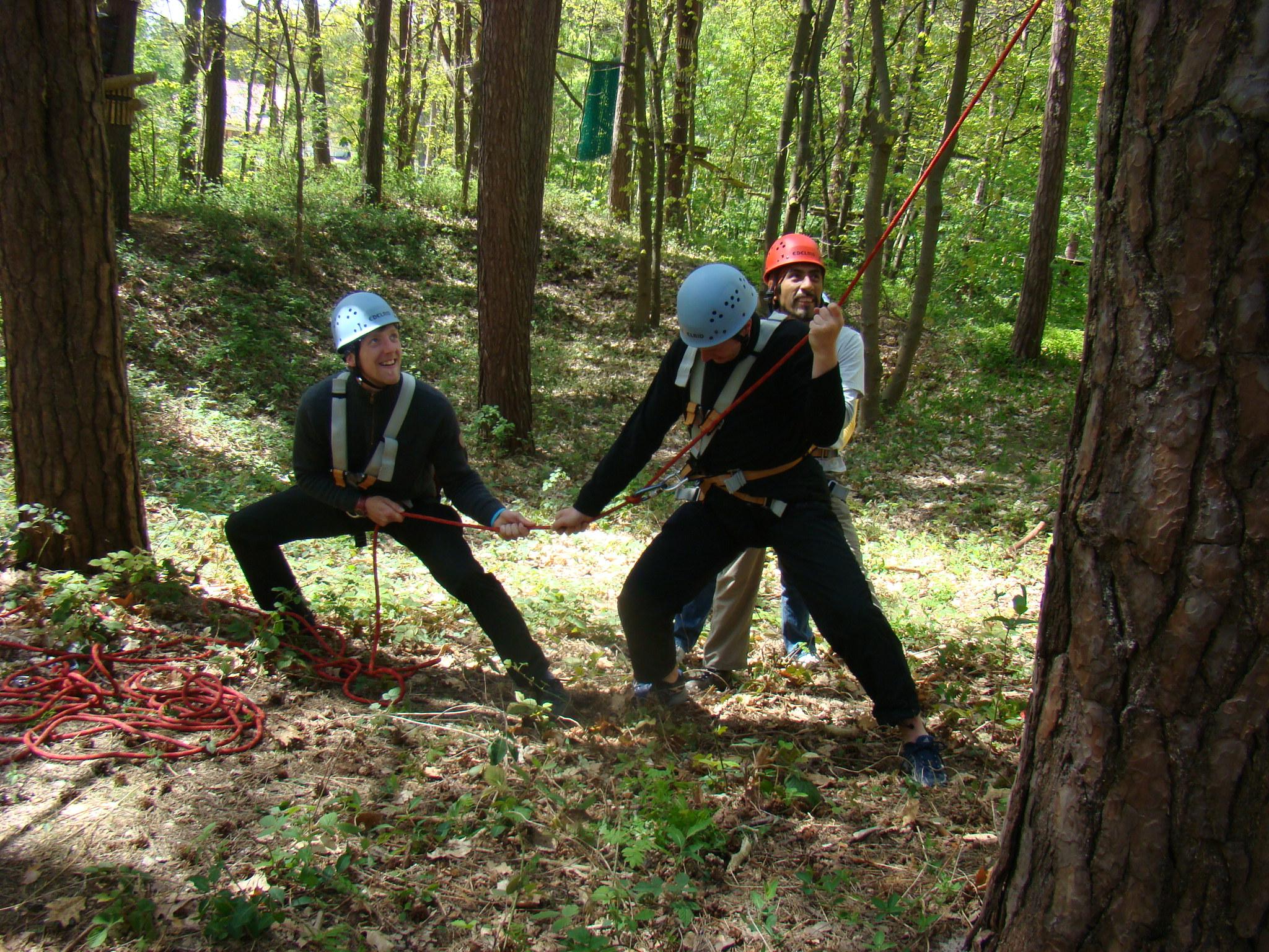 Trainerteam bei Teamübung im Wald
